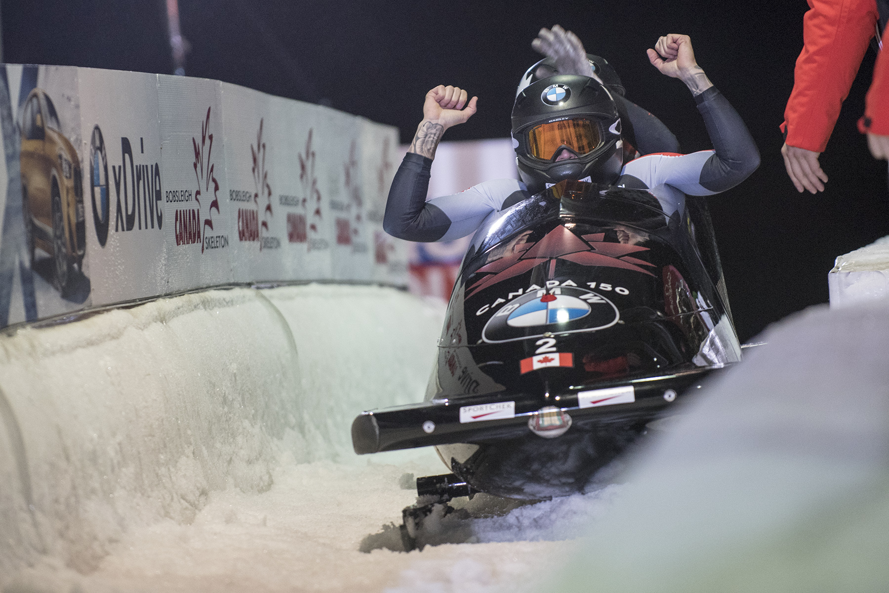 Team Canada - Kaillie Humphries and Melissa Lothloz finish their run at the Whistler Sliding Centre