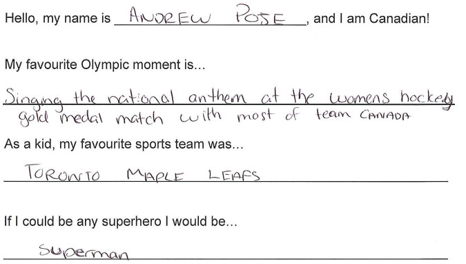 Team Canada - Andrew Poje hi my name is response 1