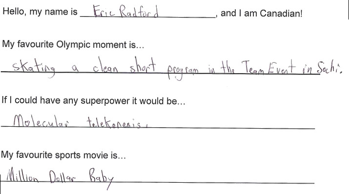 Team Canada - Eric Radford Hi my name is response 1