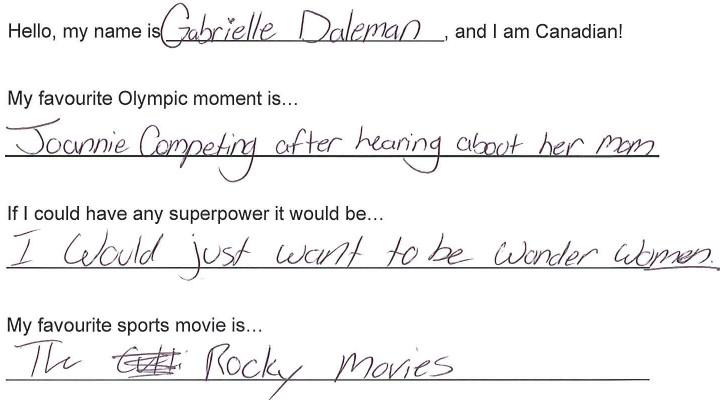 Team Canada - Gabrielle Daleman hi my name is response 1