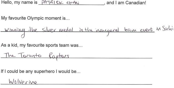 Team Canada - Patrick Chan hi my name is response 1