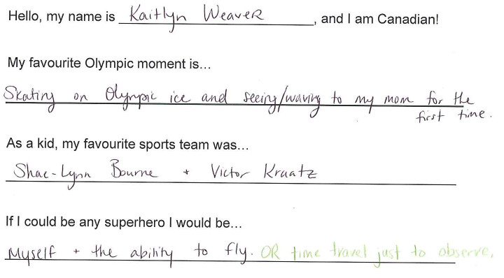 Team Canada - kaitlyn weaver hi my name is response 1