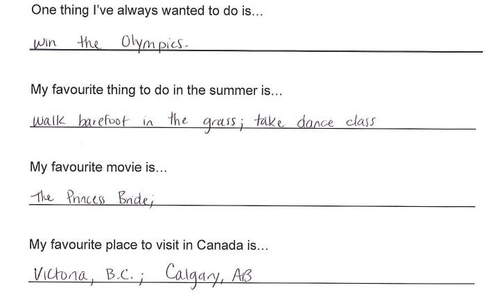 Team Canada - kaitlyn weaver hi my name is response 3