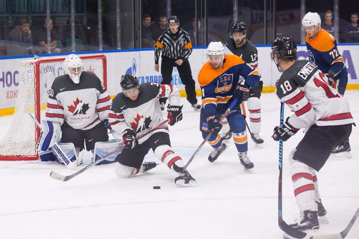 Team Canada - Canada's Mat Robinson blocks a shot in a Tournament of Nikolai Puchkov game against SKA Neva (Photo: Hockey Canada)