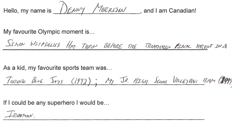 Team Canada - Denny Morrison hi my name is response 1