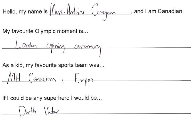 Team Canada - Marc-Antoine Gagnon hi my name is response 1