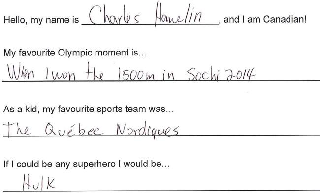 Team Canada - Charles Hamelin Hi my name is response 1