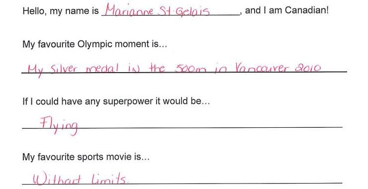 Team Canada - Marianne St-Gelais Hi my name is response 1