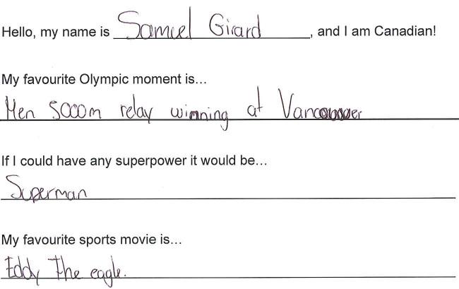 Team Canada - Samuel Girard Hi my name is response 1