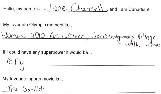 Team Canada - Jane Channell hi my name is response 1