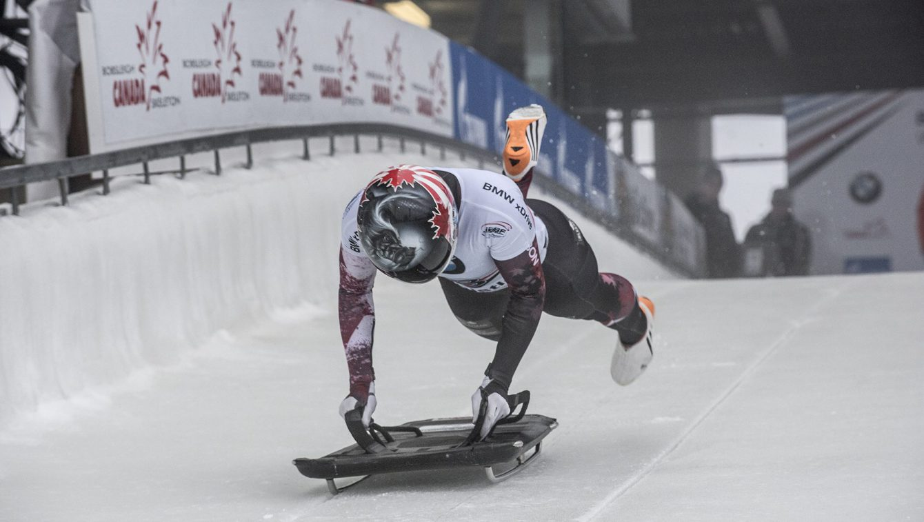 Team Canada - Jane Channell starts her run at the IBSF World Cup stop in Whistler