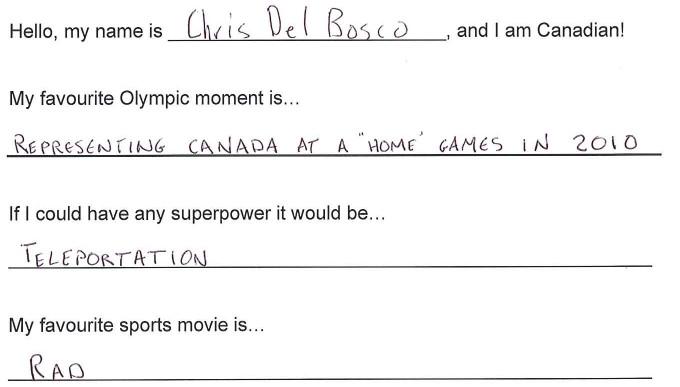 Team Canada - Chris Del Bosco hi my name is response 1