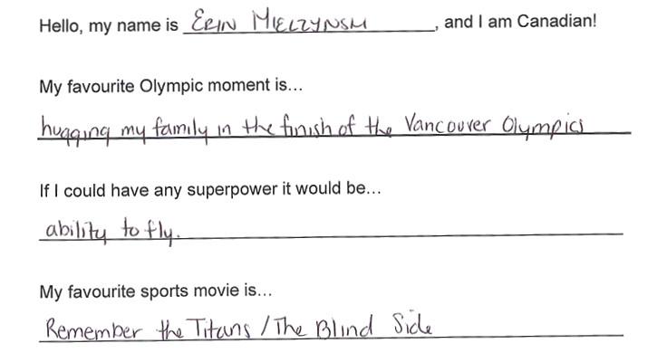 Team Canada - Erin Mielzynski hi my name is response 1