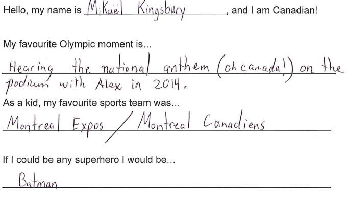 Team Canada - Mikael Kingsbury Hi my name is response 1