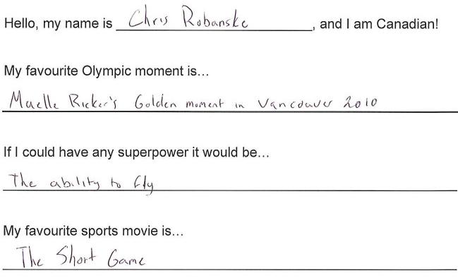 Team Canada - chris robanske hi my name is response 1