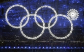 One of the rings forming the Olympic Rings fails to open during the opening ceremony of the 2014 Winter Olympics in Sochi, Russia, Friday, Feb. 7, 2014. (AP Photo/Mark Humphrey)