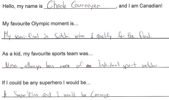 Team Canada - Charle Cornoyer Hi my name is response 1