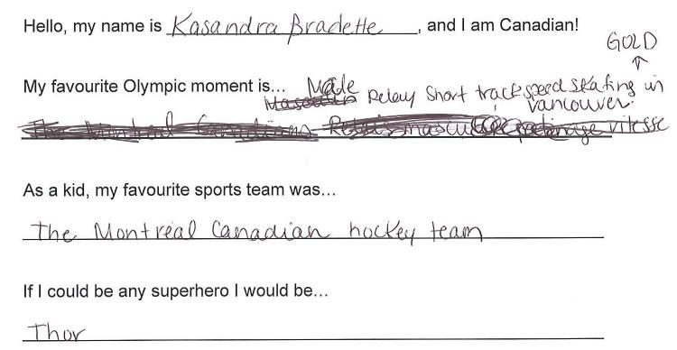 Team Canada - Kasandra Bradette Hi my name is response 1