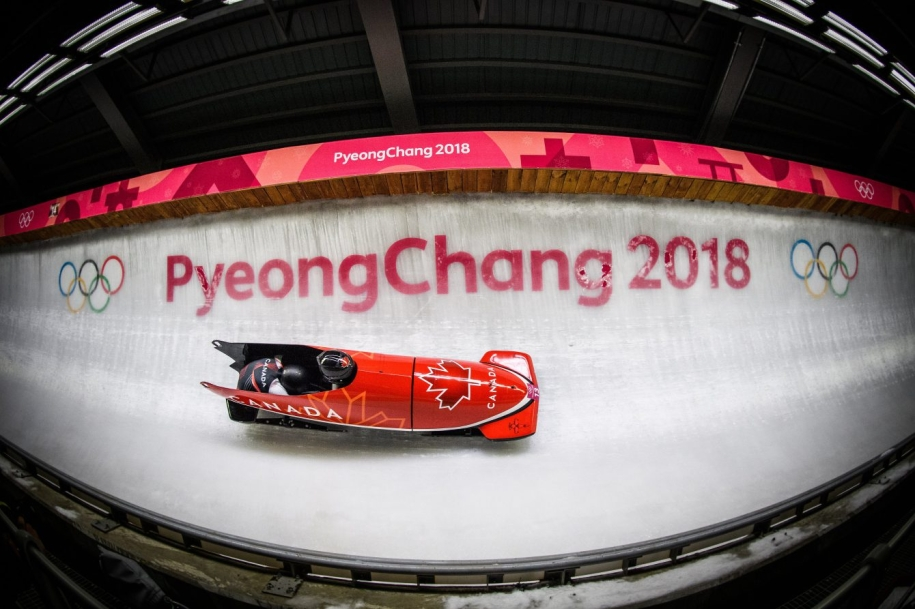 Fish eye lens of bobsleigh on track