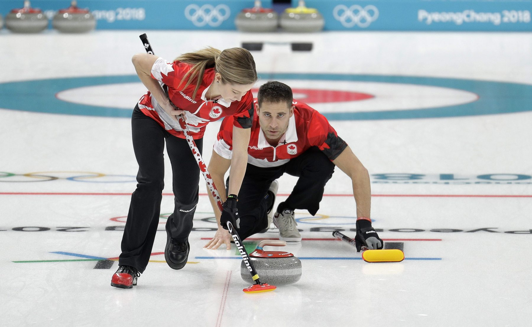 John Morris and Kaitlyn Lawes compete in semifinals at the 2018 Games