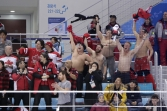 Canada fans react after a goal by Wojtek Wolski during the second period of a preliminary round men's hockey game against Switzerland at the 2018 Winter Olympics in Gangneung, South Korea, Thursday, Feb. 15, 2018. (AP Photo/Julio Cortez)