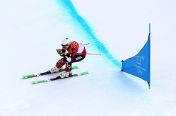 Kelsey Serwa of Canada competes in the Ladies Ski Cross Seeding run at Phoenix Snow Park during the PyeongChang 2018 Olympic Winter Games in PyeongChang, South Korea on February 22, 2018. Photo by THE CANADIAN PRESS/HO-COC/Vaughn Ridley