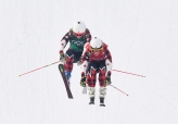 Gold medalist Kelsey Serwa, front, and silver medalist Brittany Phelan both of Canada compete in the women's ski cross final at the Phoenix Snow Park at the 2018 Winter Olympic Games in Pyeongchang, South Korea, Friday, Feb. 23, 2018. THE CANADIAN PRESS/Jonathan Hayward