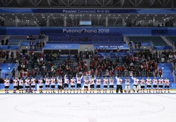 Canada hockey team celebrate with their bronze medals after beating the Czech Republic in the men's bronze medal hockey game at the 2018 Winter Olympics in Gangneung, South Korea, Saturday, Feb. 24, 2018. (AP Photo/Matt Slocum)