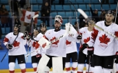Goalie Kevin Poulin (31), of Canada, celebrates after the men's bronze medal hockey game against the Czech Republic at the 2018 Winter Olympics in Gangneung, South Korea, Saturday, Feb. 24, 2018. Canada won 6-4. (AP Photo/Matt Slocum)
