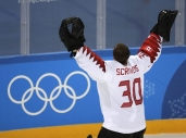 Ben Scrivens (30), of Canada, celebrates after the men's bronze medal hockey game against the Czech Republic at the 2018 Winter Olympics in Gangneung, South Korea, Saturday, Feb. 24, 2018. Canada won 6-4. (AP Photo/Julio Cortez)