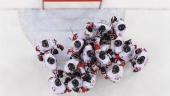 Canada hockey team celebrats after the men's bronze medal hockey game against the Czech Republic at the 2018 Winter Olympics in Gangneung, South Korea, Saturday, Feb. 24, 2018. Canada won 6-4.(AP Photo/Jae C. Hong)