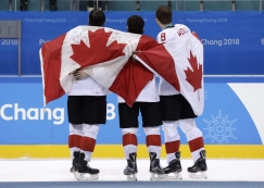 SATURDAY OLYMPIC REPEATS Canada hockey team celebrate with their bronze medals after beating the Czech Republic in the men's bronze medal hockey game at the 2018 Winter Olympics in Gangneung, South Korea, Saturday, Feb. 24, 2018. (AP Photo/Matt Slocum)