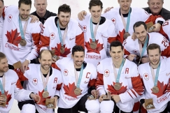 SATURDAY OLYMPIC REPEATS Canada men's hockey team players celebrate their win following third period men's hockey bronze medal game action against Czech Republic at the 2018 Olympic Winter Games, in Pyeongchang, South Korea, on Saturday, February 24, 2018. THE CANADIAN PRESS/Nathan Denette