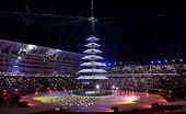 Lighting of the prayer pagoda during the closing ceremonies at the 2018 Pyeongchang Olympic Winter Games in Pyeongchang, South Korea, on Sunday, February 25, 2018. THE CANADIAN PRESS/Nathan Denette