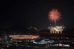 Fireworks explode behind the Olympic Stadium during the closing ceremony of the 2018 Winter Olympics in Pyeongchang, South Korea, Sunday, Feb. 25, 2018. (AP Photo/Felipe Dana)