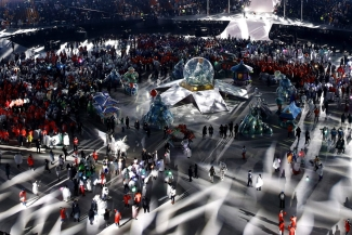 Athletes and performers leave the closing ceremony of the 2018 Winter Olympics in Pyeongchang, South Korea, Sunday, Feb. 25, 2018. (AP Photo/Charlie Riedel)