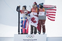 Cassie Sharpe wins gold in the Ladies Freestyle Skiing Halfpipe event at the Phoenix Snow Park during the PyeongChang 2018 Olympic Winter Games in Bokwand, South Korea,Tuesday, February 20, 2018. THE CANADIAN PRESS/HO - COC – David Jackson