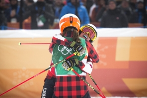Team Canada's Kelsey Serwa wins Gold in the Ladies Ski Cross at Phoenix Snow Park during the PyeongChang 2018 Olympic Winter Games in Bokwang, South Korea,Friday, February 23, 2018. COC – David Jackson