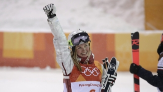 Justine Dufour-Lapointe after finishing second in women's moguls at PyeongChang 2018 on February 11, 2018. Photo: Jason Ransom/COC
