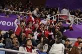 Team Canada fans cheer on pairs figure skating at PyeongChang 2018.