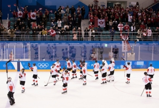 Team Canada Acknowledges the fans following their 5-1 win over Switzerland during preliminary hockey action at the PyeongChang 2018 Olympic Winter Games in Korea, Thursday, February 15, 2018. THE CANADIAN PRESS/HO - COC – Jason Ransom