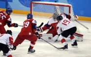 Pavel Francouz of the Czech Republic makes a save on a shot by Andrew Ebbett of Canada in the Men's Bronze Medal hockey game at the Gangneung Hockey Centre during the PyeongChang 2018 Olympic Winter Games in PyeongChang, South Korea on February 24, 2018. (Photo by Vaughn Ridley/COC)