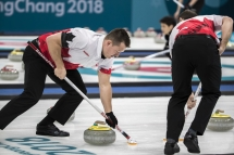 Team Canada's Team Koe in the round robin of curling at PyeongChang 2018, Tuesday, February 20, 2018. COC Photo by Stephen Hosier