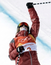 Cassie Sharpe reacts after one of her runs during the Olympic women's ski halfpipe final on February 20, 2018.