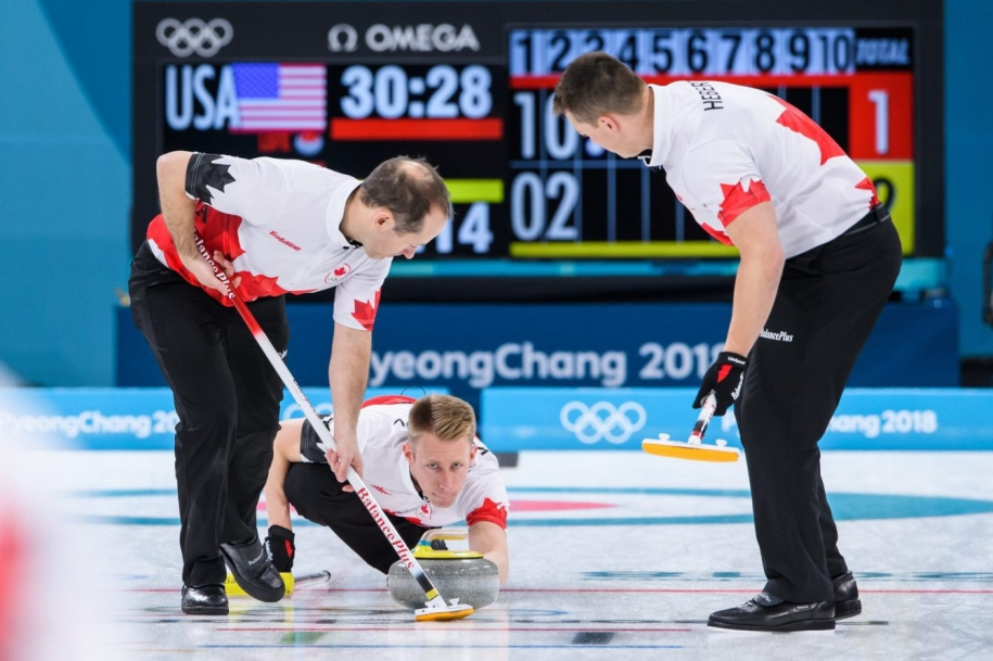 Canada curling team competing