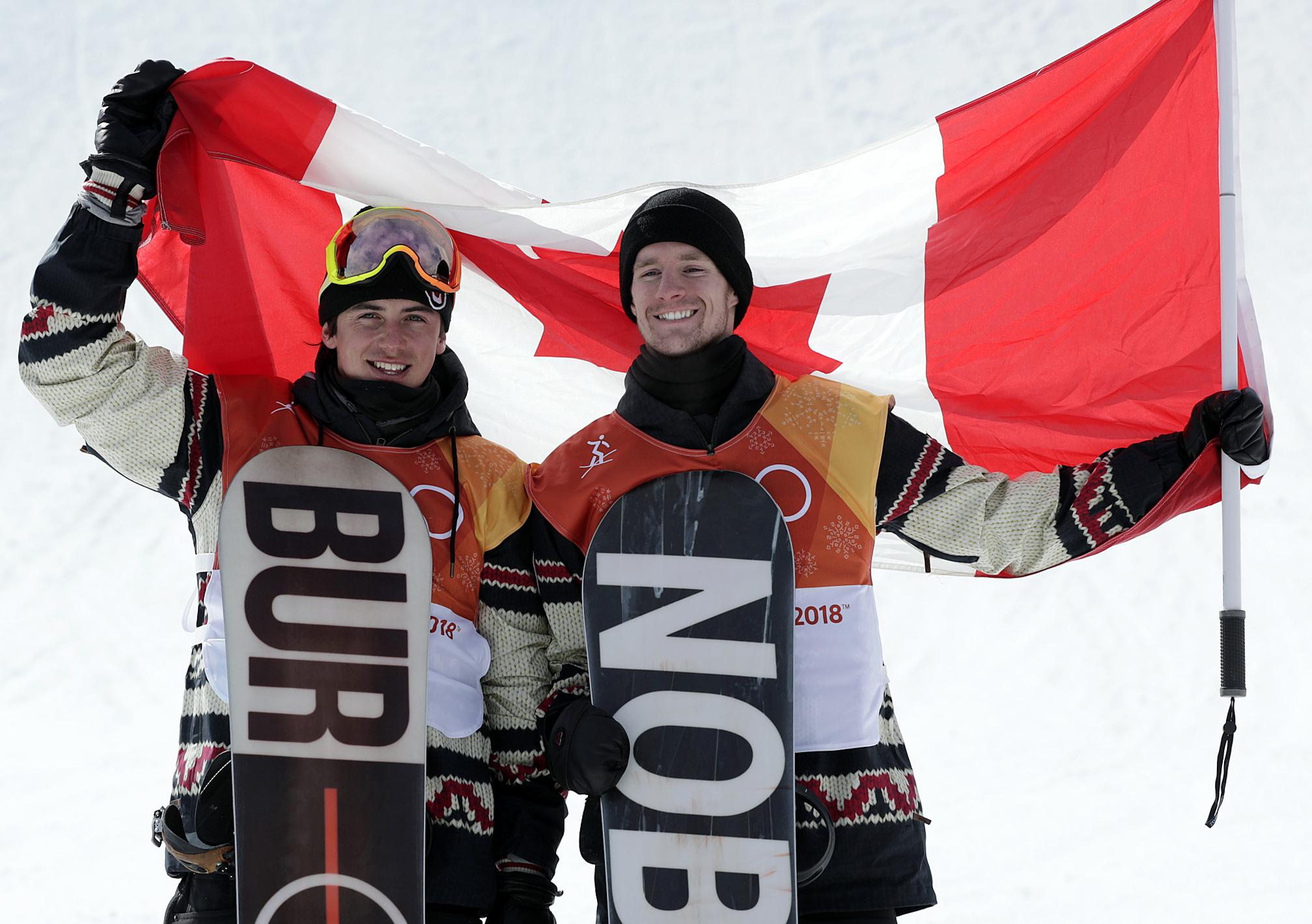 Team Canada PyeongChang 2018 Max Parrot Mark McMorris podium
