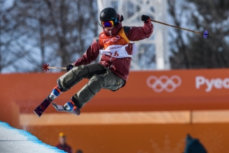 PYEONGCHANG, SOUTH KOREA - FEBRUARY 20:Rosalind Groenewoud competes during the Freestyle Skiing - Ladies' Ski Halfpipe final at the Phoenix Snow Park on February 20, 2018 in Pyeongchang-gun, South Korea.(Photo by Vincent Ethier/COC)
