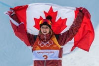 PYEONGCHANG, SOUTH KOREA - FEBRUARY 20: Cassie Sharpe wins the gold medal during the Freestyle Skiing - Ladies' Ski Halfpipe final at the Phoenix Snow Park on February 20, 2018 in Pyeongchang-gun, South Korea.(Photo by Vincent Ethier/COC)