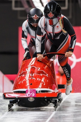 PYEONGCHANG, SOUTH KOREA - FEBRUARY 20: Alysia Rissling and Heather Moyse compete in the Bobsleigh - Women at the 2018 Pyeongchang Winter Olympics Olympic Sliding Centre in Alpensia in Pyeongchang in South Korea. February 20, 2018(Photo by Vincent Ethier/COC)