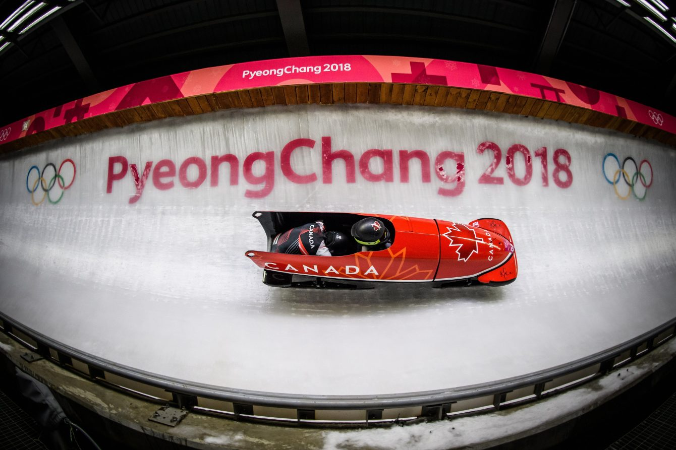 Kaillie Humphries and Phylicia George compete in the women's bobsleigh at the 2018 Winter Olympic Games in Pyeongchang